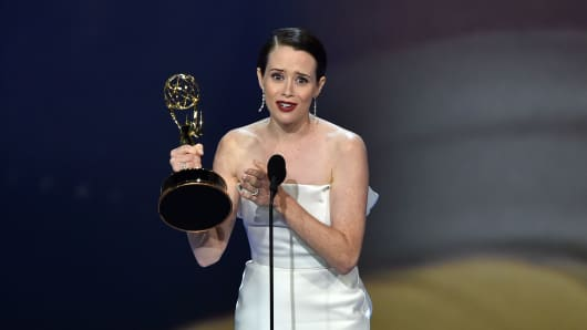 Claire Foy speaks onstage after winning an Emmy for Lead actress in a drama series during the 70th Emmy Awards at the Microsoft Theatre in Los Angeles, California on September 17, 2018.