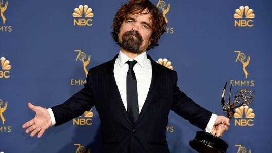 Peter Dinklage poses with the Outstanding Supporting Actor for a Drama Series for 'Game of Thrones' during to the 70th Annual Primetime Emmy Awards held at the Microsoft Theater on September 17, 2018.