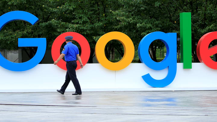 A Google sign is seen in Shanghai, China.
