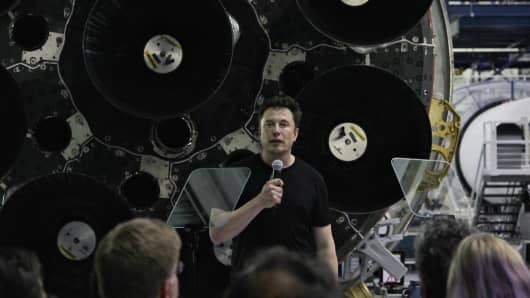 SpaceX CEO Elon Musk speaks at the company's headquarters in Hawthorne, California.