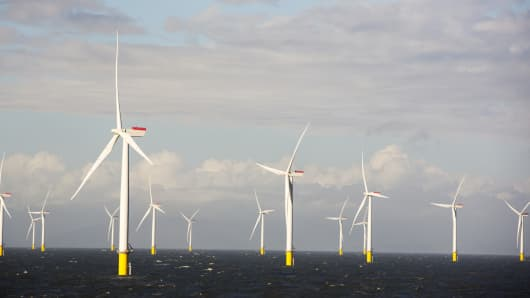 This image shows part of the Walney Offshore Wind Farm, which is located in the Irish Sea.