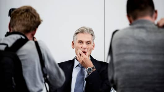 Thomas Borgen, resigned CEO of Danske Bank before the press conference about the money laundering scandal in the bank in Tivoli Congress Center in Copenhagen, Denmark September 19, 2018.