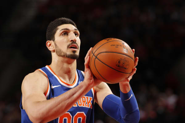 Enes Kanter #00 of the New York Knicks shoots a free throw against the Portland Trail Blazers on March 6, 2018.