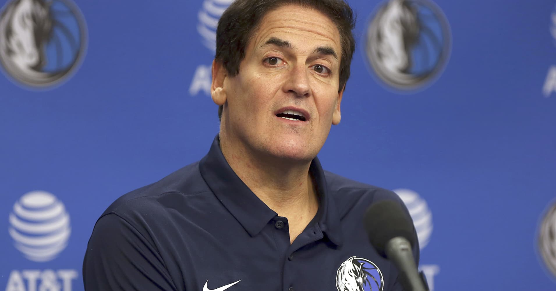 DALLAS, TEXAS - FEBRUARY 26: Team owner Mark Cuban looks on during a press conference to introduce Cynthia Marshall as the new Dallas Mavericks Interim CEO at American Airlines Center on February 26, 2018 in Dallas, Texas.