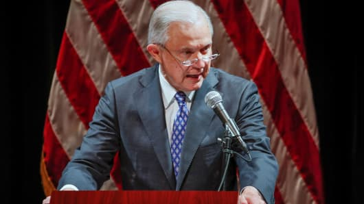United States Attorney General Jeff Sessions speaks at Valor Survive and Thrive Conference in Waukegan, Illinois, U.S., September 19, 2018.