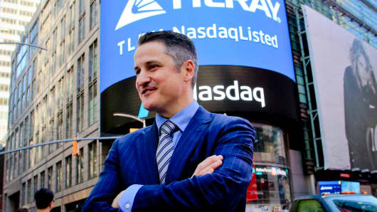 Brendan Kennedy, CEO and founder of British Columbia-based Tilray Inc., a major Canadian marijuana grower, poses outside the Nasdaq on Thursday, July 19, 2018, in New York.