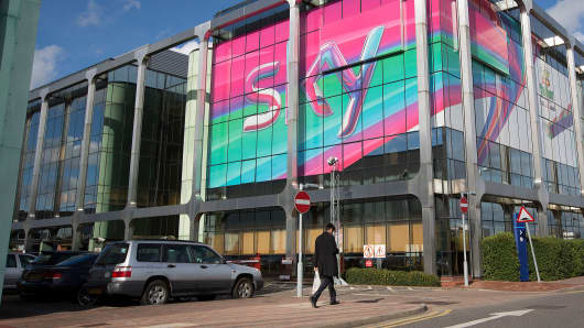 British Sky Broadcasting Group Plc's (BSkyB) headquarters in London, U.K.