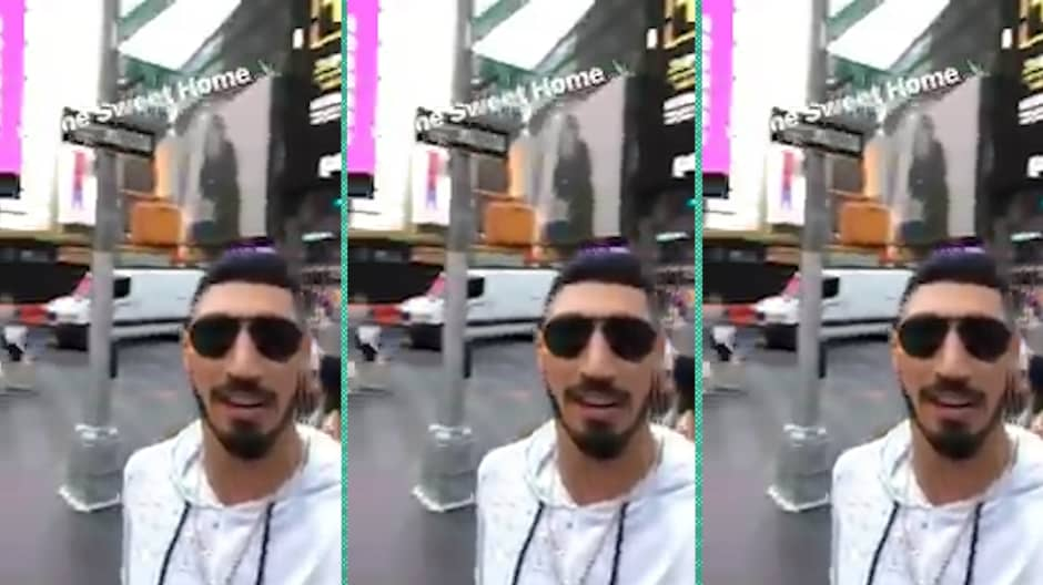 Enes Kanter of NBA's NY Knicks explains why he likes the subway, Times Square and people-watching