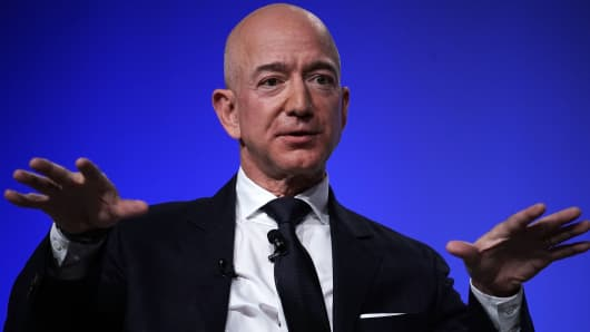 Amazon CEO Jeff Bezos, founder of the space company Blue Origin and owner of the Washington Post, attends an Air Force Association event on September 19, 2018 in National Harbor, Maryland.