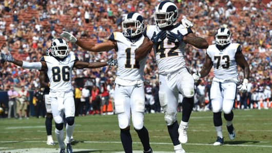Los Angeles Rams (42) John Kelly (RB) celebrates after running the ball for a touchdown during an NFL preseason game between the Houston Texans and the Los Angeles Rams on August 25, 2018 at the Los Angeles Memorial Coliseum in Los Angeles, CA.