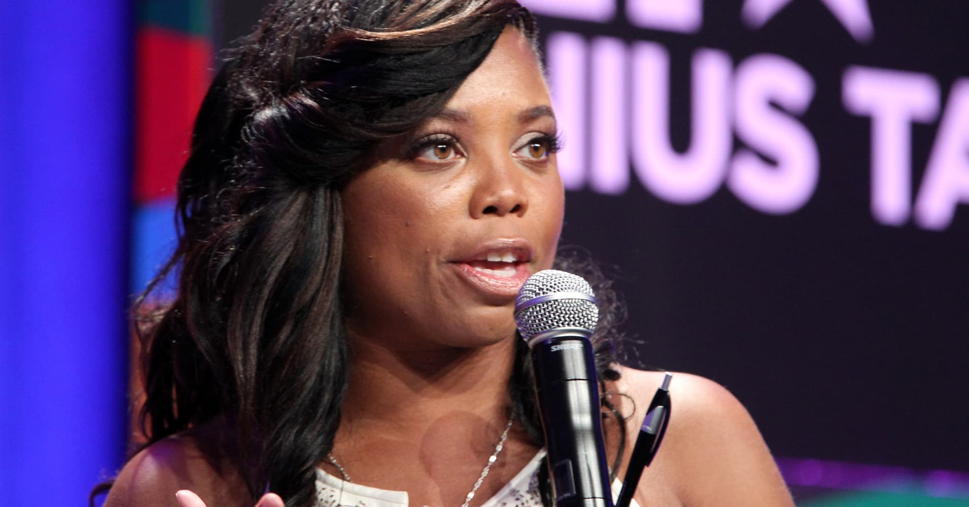 Jemele Hill speaks onstage during the Genius Talks presented by RushCard at the 2014 BET Experience on June 28, 2014.