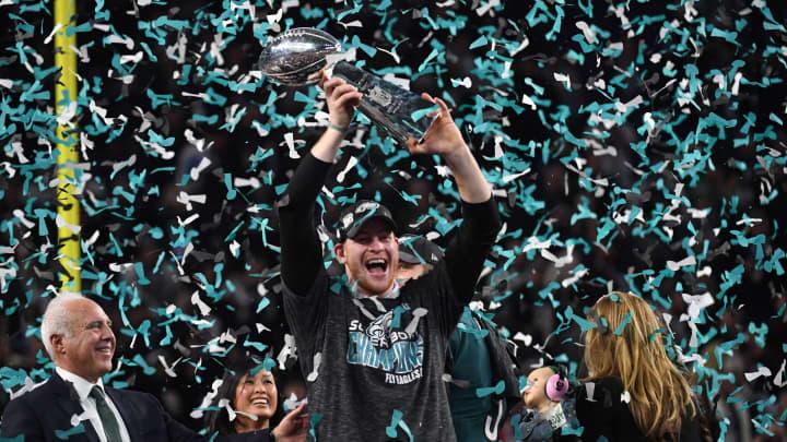 Philadelphia Eagles quarterback Carson Wentz celebrates after winning Super Bowl LII against the New England Patriots at US Bank Stadium in Minneapolis, Minnesota, on February 4, 2018. The Eagles won 41-33.