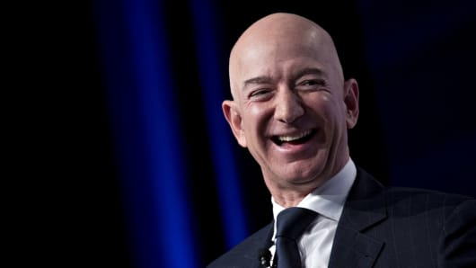Jeff Bezos, founder and chief executive officer of Amazon.com Inc., laughs during a discussion at the Air Force Association's Air, Space and Cyber Conference in National Harbor, Maryland, U.S., on Wednesday, Sept. 19, 2018.