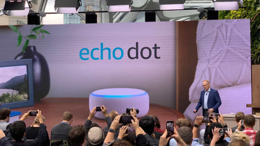 Amazon unveils a new version of the Echo Dot at an event on Sept. 20, 2018.