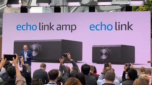 Amazon introduces new Alexa-enabled products, including an amplifier, at an event on Sept. 20, 2018.