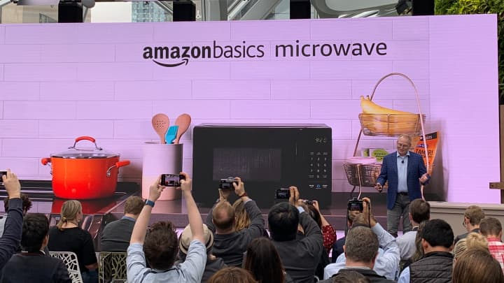 Amazon introduces an Alexa-connected microwave oven on Sept. 20, 2018.
