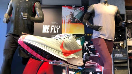 Nike shoes are displayed at a Nike Store on August 10, 2018 in San Francisco, California.