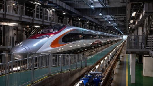 A Guangzhou-Shenzhen-Hong Kong Express Rail Link 'Vibrant Express' train is seen at Shek Kong Stabling Sidings in Hong Kong.