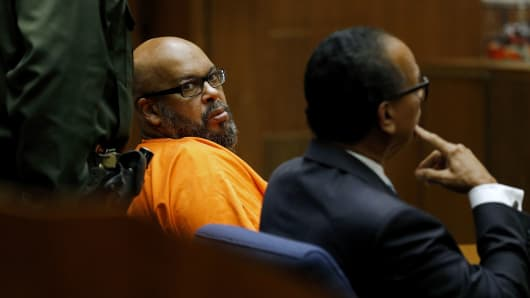 Marion 'Suge' Knight, left, shown with his attorney Albert DeBlanc, appears in court pleading no contest to voluntary manslaughter in front of Judge Ronald S. Coen at the Criminal Justice Center in Los Angeles, Calif., on Sept. 20, 2018.