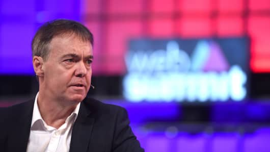 Jeremy Darroch, CEO of Sky, on the center stage during day three of the 2015 Web Summit in Dublin, Ireland.