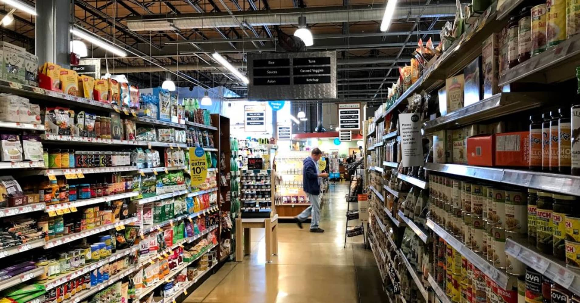 A grocery aisle at Whole Foods in Edgewater, New Jersey
