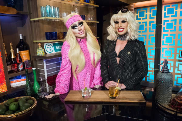 Trixie and Katya of the Trixie and Kayta show on Watch What Happens Live With Andy Cohen