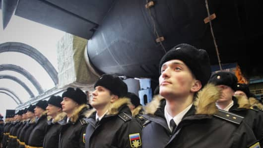 Russian Navy officers at the launching ceremony of the nuclear powered missile submarine Knyaz Vladimir of Project 955A at the Sevmash military shipyard.