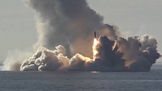 Pictured in this screen grab is a Bulava missile launched by the Russian Navy Northern Fleet's Project 955 Borei nuclear missile cruiser submarine Yuri Dolgoruky from the White Sea in north-west Russia at the Kura testing grounds on Kamchatka Peninsula on Russia's Pacific coast during a military drill. Screen grab/Ministry of Defence of the Russian Federation/TASS