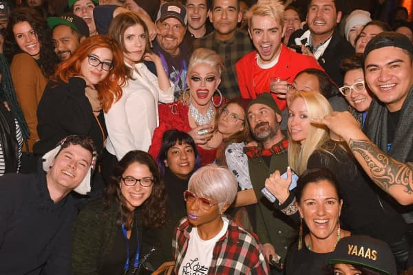 Performer Morgan McMichael sposes with fans at the 'RuPaul's Drag Race' Viewing Party during the 2018 Sundance Film Festival at The Claim Jumper on January 25, 2018 in Park City, Utah.