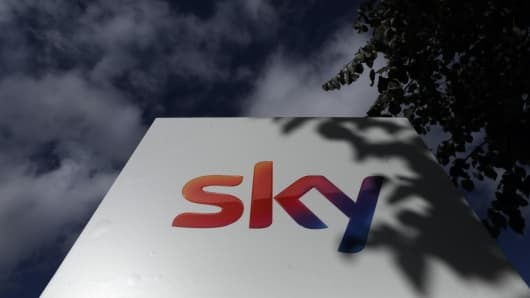 The 'Sky' logo sits on a sign outside Sky Plc headquarters in Isleworth, London, U.K., on Friday, Sept. 21, 2018.