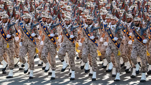 Members of Iran's Revolutionary Guards Corps (IRGC) march during the annual military parade In Iran's southwestern city of Ahvaz before the attack.