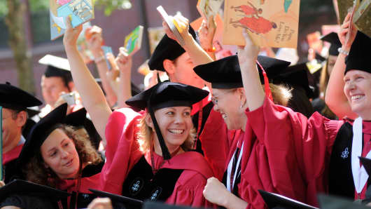 Graduates From Harvard University in Cambridge, Massachusetts.