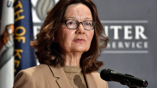 CIA Director Gina Haspel addresses the audience at the University of Louisville, Monday, Sept. 24, 2018, in Louisville, Ky.