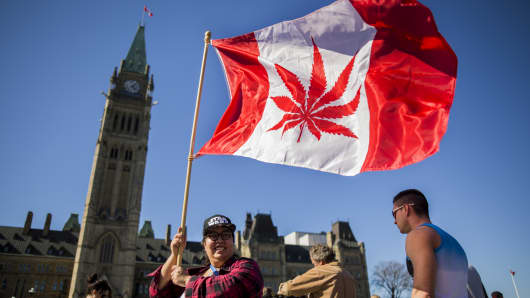 A woman waves a flag with a marijuana leef on it next to a group gathered to celebrate National Marijuana Day on Parliament Hill in Ottawa, Canada.