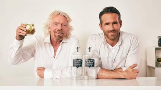 Ryan Reynolds and Sir Richard Branson announce the Aviation Gin partnership with Virgin Atlantic