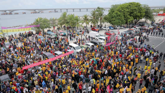 A campaign rally for Ibrahim Mohamed Solih in the Maldives' capital of Male on Sept. 22, 2018.