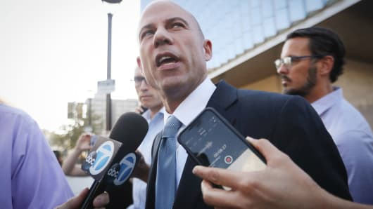 Michael Avenatti, attorney for Stephanie Clifford, also known as adult film actress Stormy Daniels, speaks to reporters as he leaves the U.S. District Court for the Central District of California on September 24, 2018 in Los Angeles, California. Avenatti claims to have information pertaining to allegations concerning Supreme Court nominee Brett Kavanaugh.