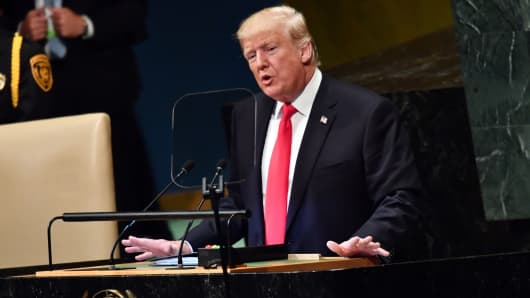 President Donald Trump addresses the 73rd session of the General Assembly at the United Nations in New York September 25, 2018.