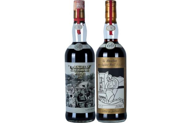 Peter Blake design label on the left; Valerio Adami design label on the right.