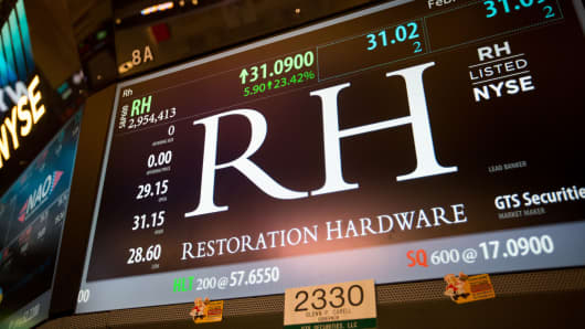 Restoration Hardware signage appears on a screen of the floor of the New York Stock Exchange in New York, February 24, 2017.