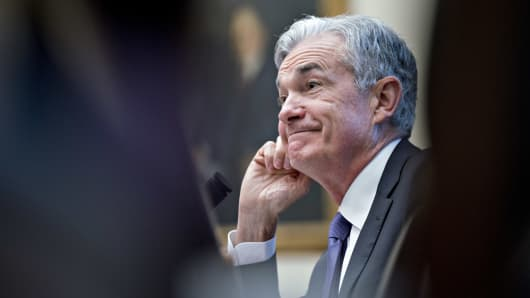 Jerome Powell, chairman of the U.S. Federal Reserve, reacts to a question during a House Financial Services Committee hearing in Washington, D.C., on Wednesday, July 18, 2018.