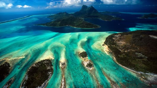 An aerial View of Bora Bora, French Polynesia