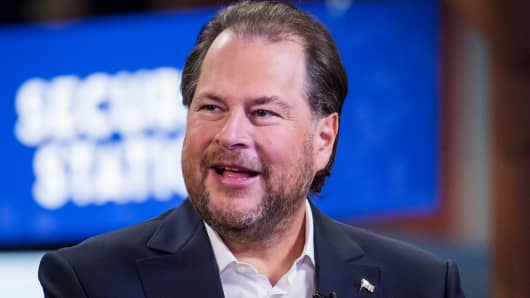 Marc Benioff, chairman and co-CEO of Salesforce, speaks during a Bloomberg Television interview at the Dreamforce conference in San Francisco on Sept. 25, 2018.