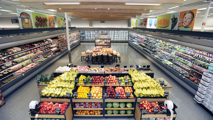 The grocery section of a redesigned Target store in Duarte, California.