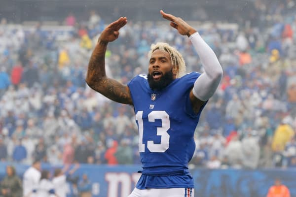Odell Beckham #13 of the New York Giants before a game against the Jacksonville Jaguars on September 9, 2018 at MetLife Stadium in East Rutherford, New Jersey.