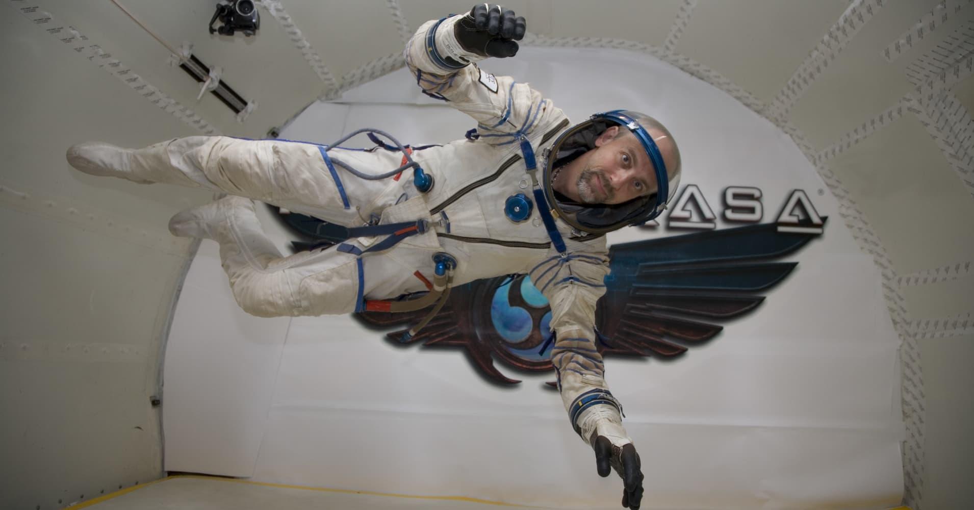 Richard Garriott floating in zero gravity.