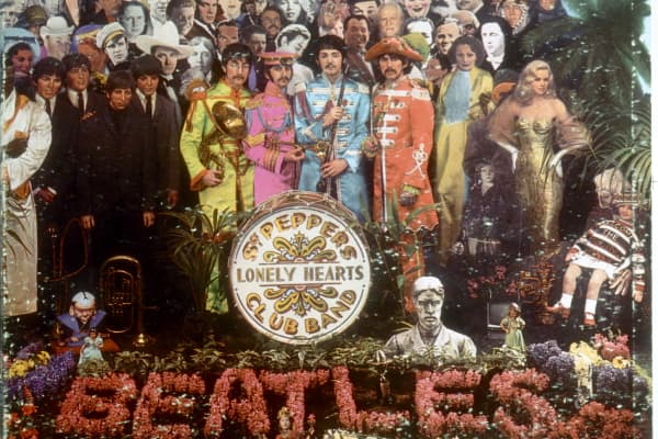 Album cover designed by art director Robert Fraser for The Beatles' album 'Sgt. Pepper's Lonely Hearts Club Band' which was released on June 1, 1967.