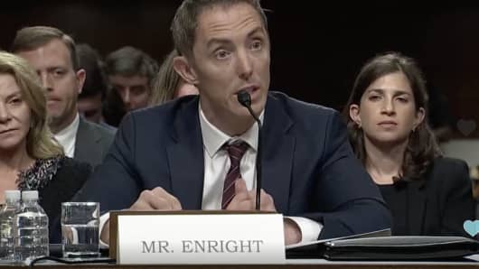 Keith Enright testifies at a Senate hearing on data privacy