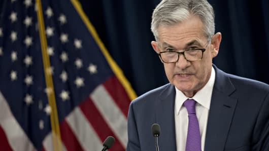 Jerome Powell, chairman of the U.S. Federal Reserve, speaks during a news conference following a Federal Open Market Committee (FOMC) meeting in Washington, D.C., U.S., on Wednesday, Sept. 26, 2018.