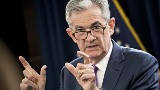 Jerome Powell, chairman of the U.S. Federal Reserve, speaks during a news conference following a Federal Open Market Committee (FOMC) meeting in Washington, D.C., Sept. 26, 2018.